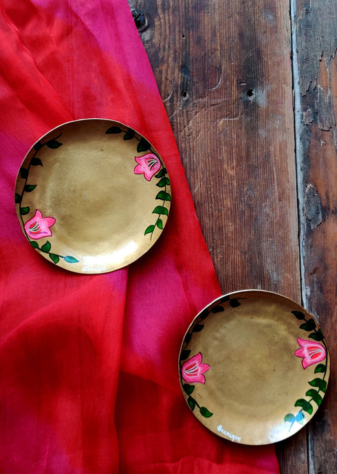 Handpainted Bougainvillea brass tapas plate . Set of 2
