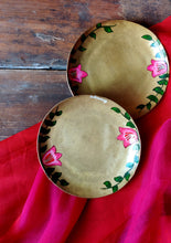 Load image into Gallery viewer, Handpainted Bougainvillea brass tapas plate . Set of 2