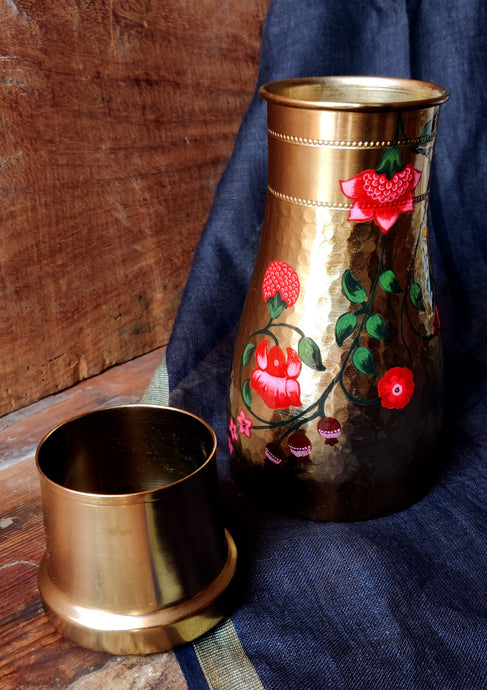 Handpainted Crimson copper water carafe