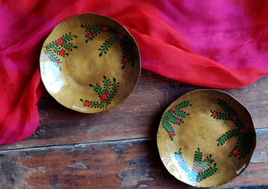Handpainted Crimson brass quarter plate