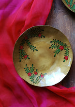 Load image into Gallery viewer, Handpainted Crimson brass quarter plate