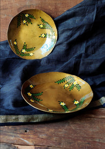 Handpainted Ecru brass quarter plate