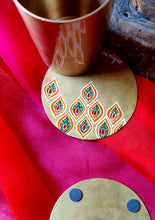 Load image into Gallery viewer, Handpainted Jali brass coasters . Set of 4