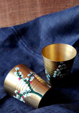 Load image into Gallery viewer, Handpainted Jasmine brass shot glass . Set of 4