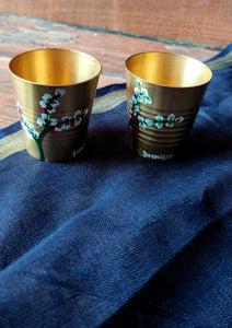 Handpainted Jasmine brass shot glass . Set of 4