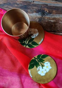 Handpainted Mogra brass coaster . Set of 4