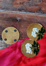Load image into Gallery viewer, Handpainted Mogra brass coaster . Set of 4