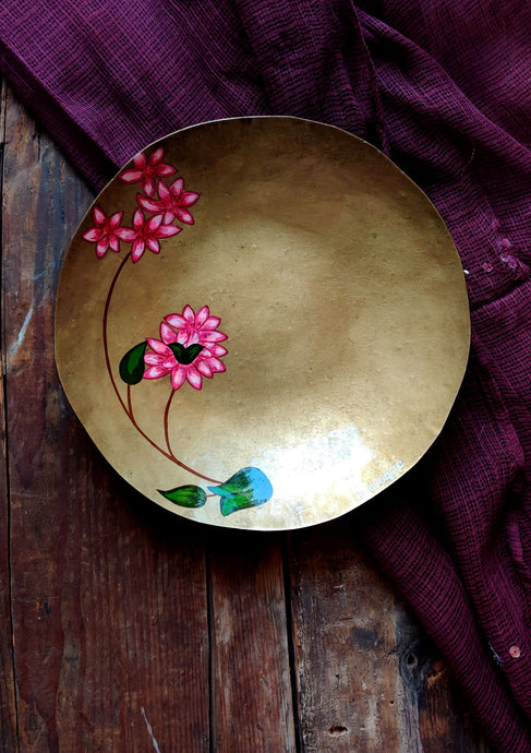 Handpainted Bougainvillea brass quarter plate