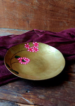 Load image into Gallery viewer, Handpainted Bougainvillea brass quarter plate