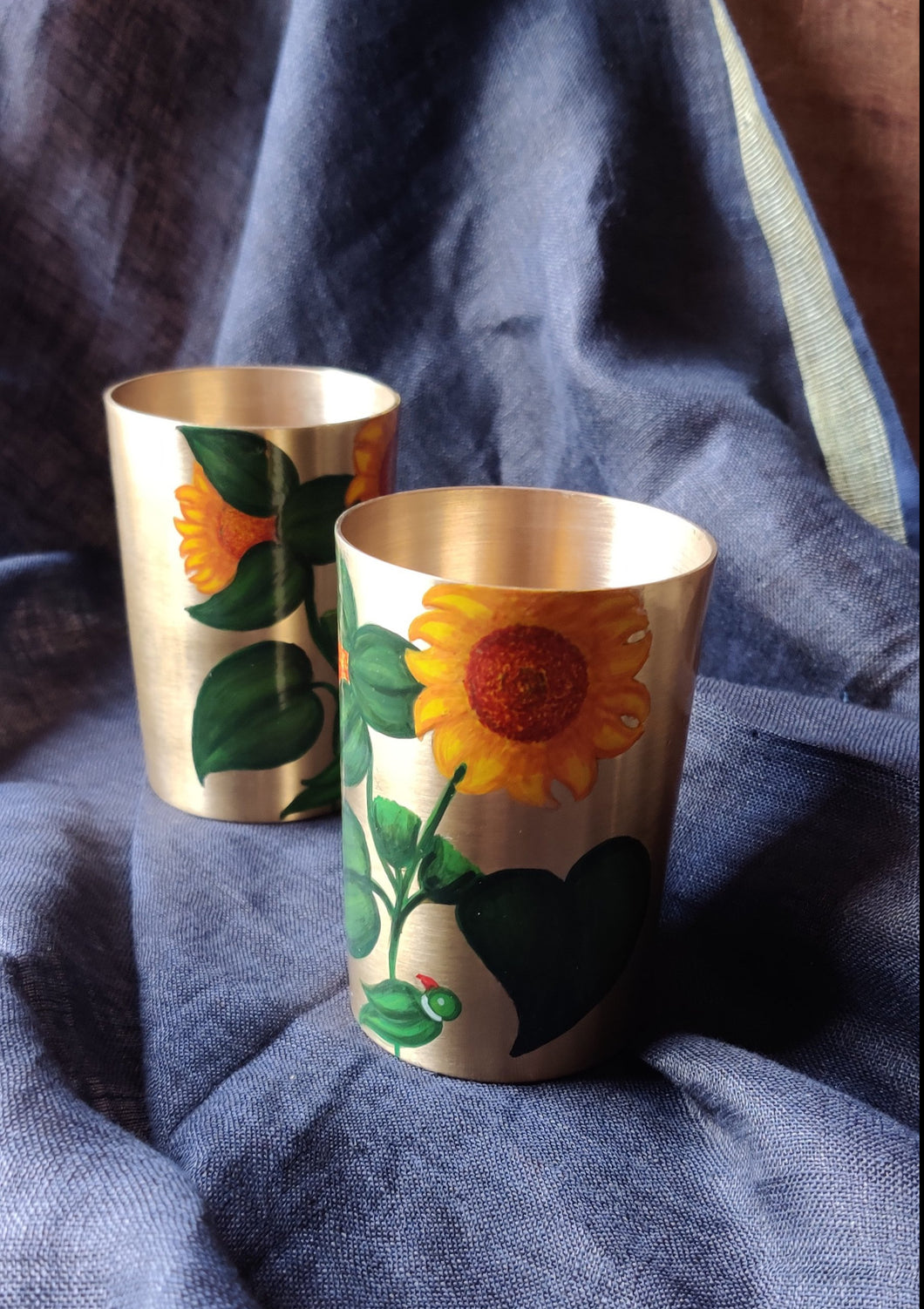 Handpainted Sunflower kansa glass . Set of 2