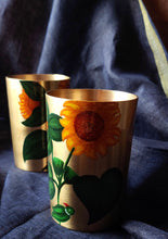 Load image into Gallery viewer, Handpainted Sunflower kansa glass . Set of 2