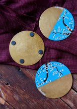 Load image into Gallery viewer, Handpainted White cherry blossom brass coasters . Set of 4