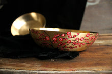 Load image into Gallery viewer, Handpainted cherry blossom kansa serving bowl
