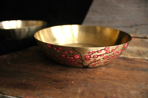 Handpainted cherry blossom kansa serving bowl