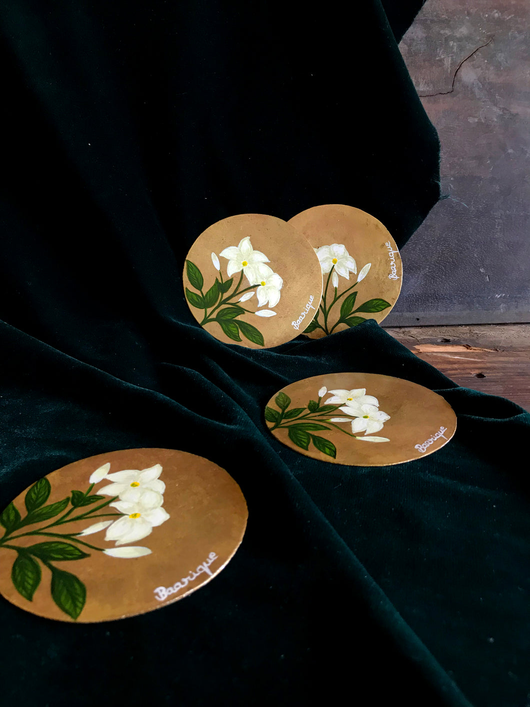 Handpainted mogra coasters(set of 4)