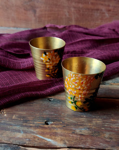 Handpainted Amaltas brass shot glass . Set of 2