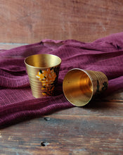 Load image into Gallery viewer, Handpainted Amaltas brass shot glass . Set of 2