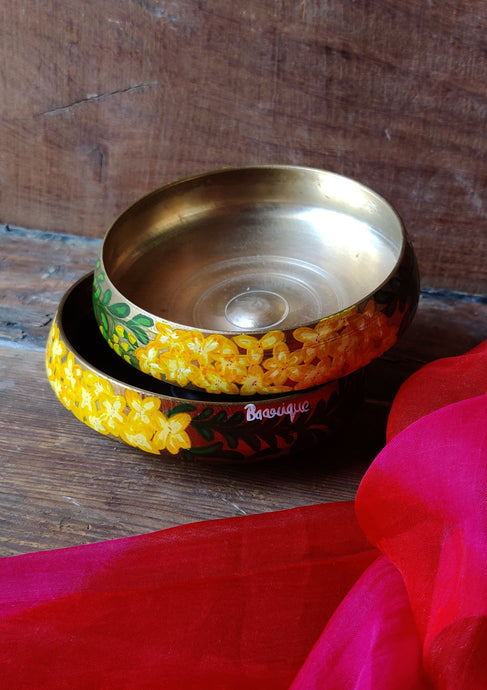 Handpainted Amaltas brass bowl