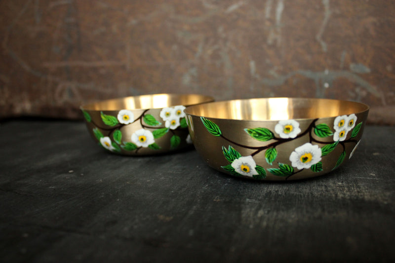 Hand Painted Chamomile Kansa Bowl (set of 2)