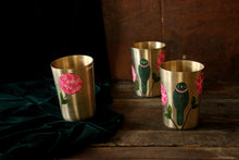 Load image into Gallery viewer, Handpainted arrot and bougainvillea bronze glass (set of 2)