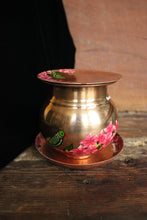 Load image into Gallery viewer, Handpainted copper parrot bougainvillea lota