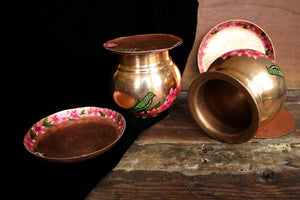 Handpainted copper parrot bougainvillea lota