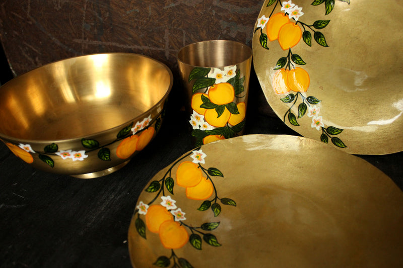 Hand Painted Lemon Serving Bowl and Plate set