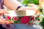 Hand Painted Bougainvillea Kansa Serving Bowl