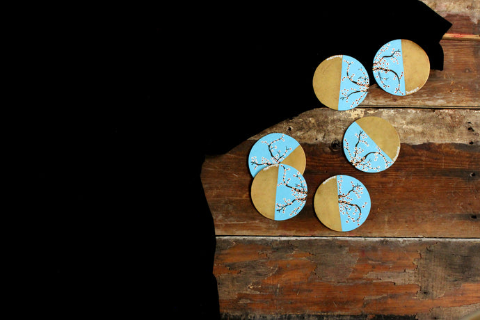 Handpainted white cherry blossom brass coasters (set of 4)