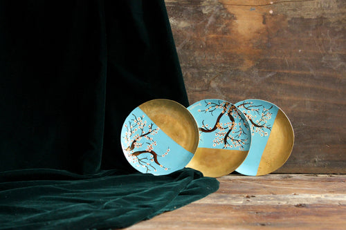 Handpainted white cherry blossom brass tapas plate