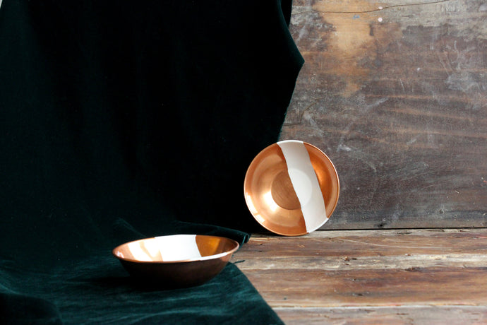 Handpainted wabi sabi copper bowl