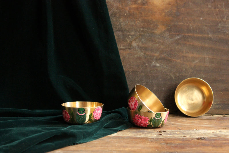 Handpainted parrot and bougainvillea bronze bowl