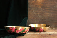 Load image into Gallery viewer, Handpainted parrot and bougainvillea bronze serving bowl