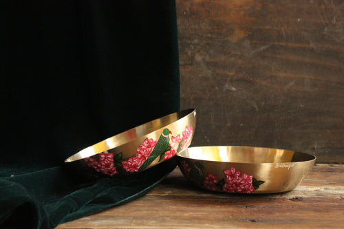 Handpainted parrot and bougainvillea bronze serving bowl