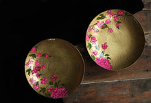 Load image into Gallery viewer, Handpainted bougainvillea brass platter