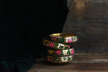 Load image into Gallery viewer, Handpainted bougainvillea brass bowl