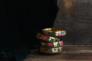 Handpainted bougainvillea brass bowl
