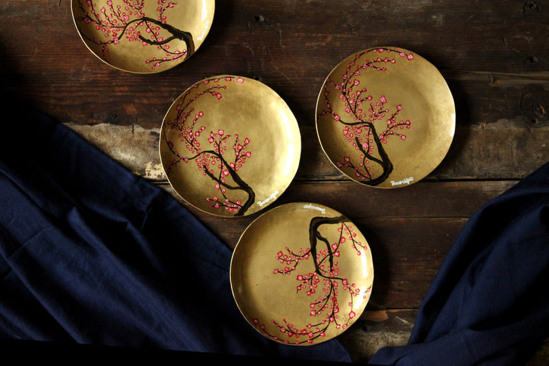 Handpainted cherry blossom brass tapas plate ( set of 2)