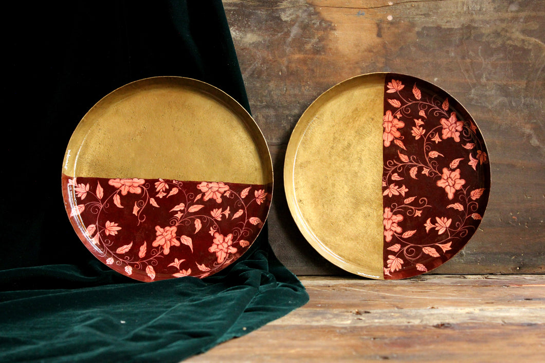 Handpainted cherry forest brass plate