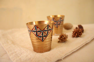 Nostalgic Saffron Floret Tiles Shot Glass (set of 4)