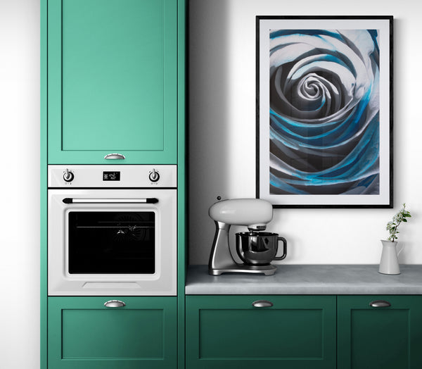 The Blue Rose, framed, in a retro-styled modern kitchen