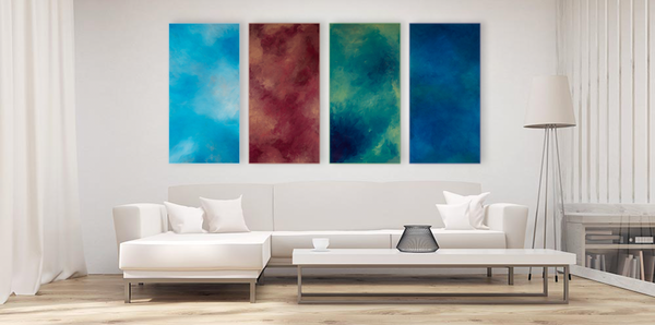 The Element Series of paintings by Deborah Liljegren. Shown in a simple and white living room.