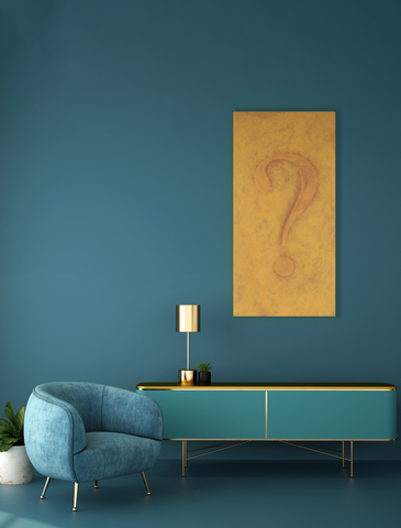 The Burning Question in a blue living room with a midcentury credenza