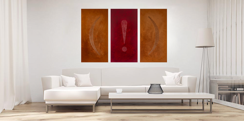 """What I Really Want To Say"" triptych in situ in minimalist living room"
