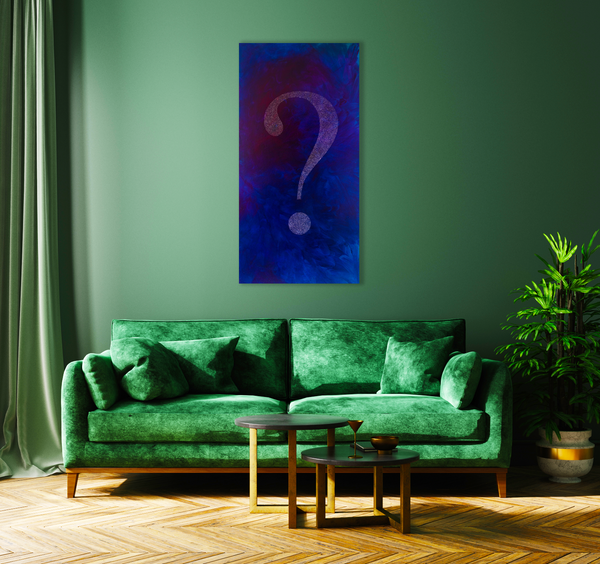 """What is Happening?"" mixed media artwork in situ in green lounge with velvet divan."
