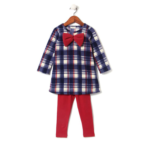 Elegant Checks Top w Red Leggings Set
