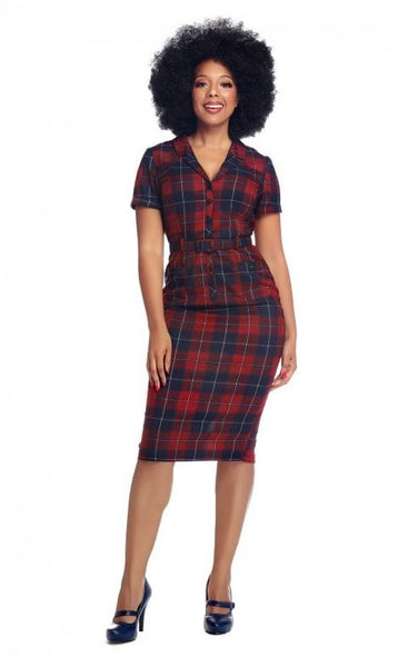 Collectif Caterina Ginsburg Red Check Dress