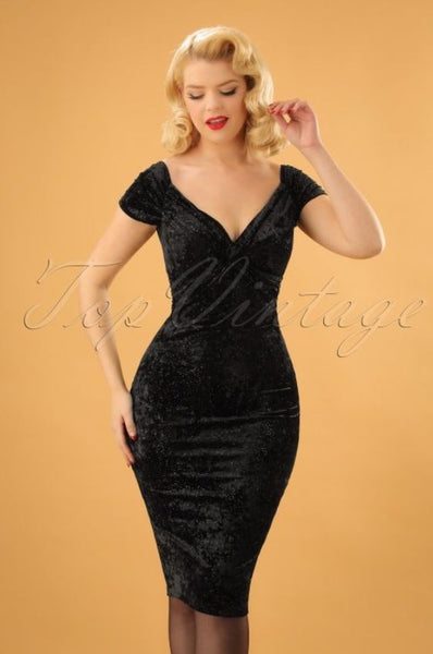 Vintage Chic for TopVintage 50s Glenda Glitter Velvet Pencil Dress in Black