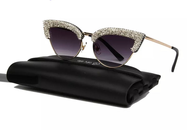 Rhinestone Diamanté Cat Eye Sunglasses