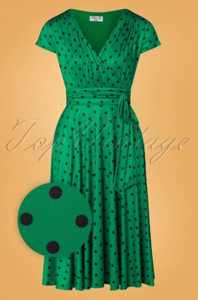 Top Vintage Vintage Chic Caryl Green Polka Dress